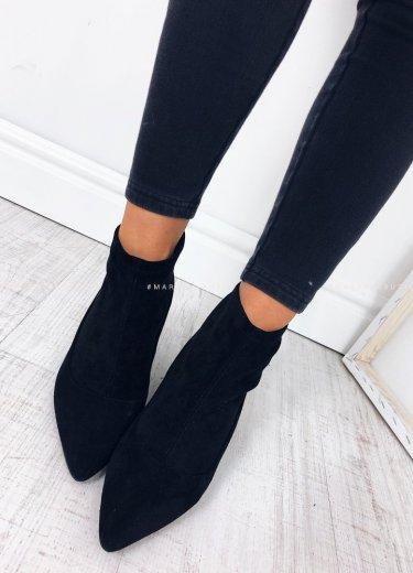 Buty saszki zamsz czarne - ELASTIC