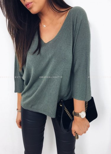 Sweterek cienki khaki FLORENCE