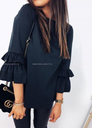Bluzka czarna z ozdobnym rękawem - KIM