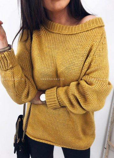Sweter FACILE z wywinięciem musztarda