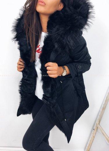 Kurtka SHINE czarna z czarnym futerkiem
