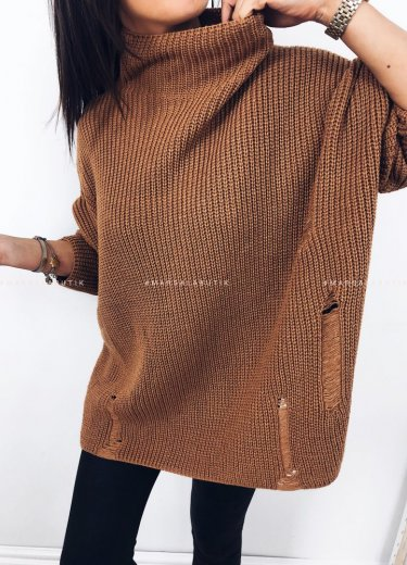 Sweter oversize ceglany - COCONUT