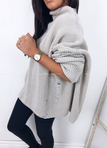 Sweter oversize beżowy - COCONUT