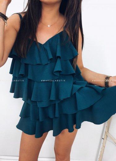 Sukienka falbanki LIBBY zieleń