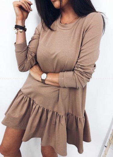 Sukienka SOFIA BASIC z falbanką beż