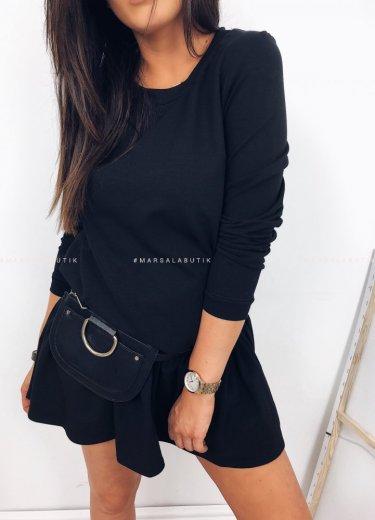 Sukienka SOFIA BASIC z falbanką czarna
