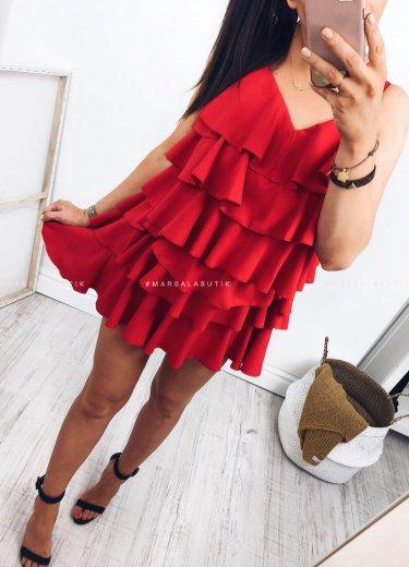 Sukienka falbanki LIBBY czerwona
