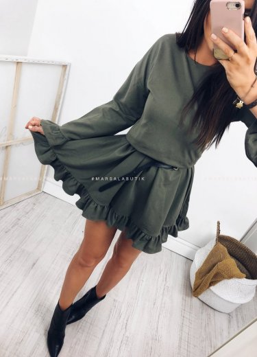 Dresowa sukienka z falbanka SOUL khaki