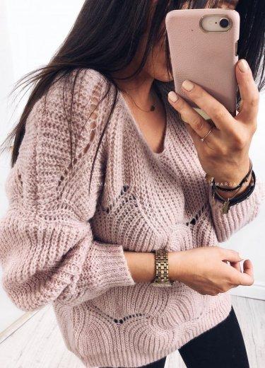 Sweterek WOLVES puder