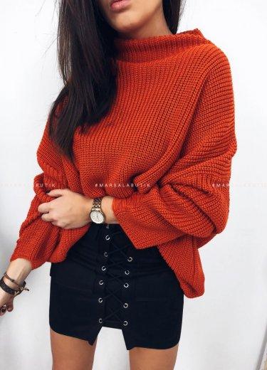 Sweter oversize pomarańczowy - COCONUT