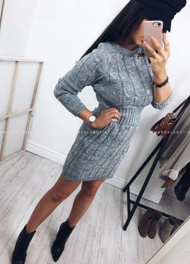 Sukienka SHADOW sweterkowa w kolorze szarym