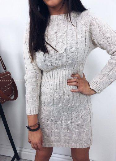 Sukienka SHADOW sweterkowa w kolorze beżowym