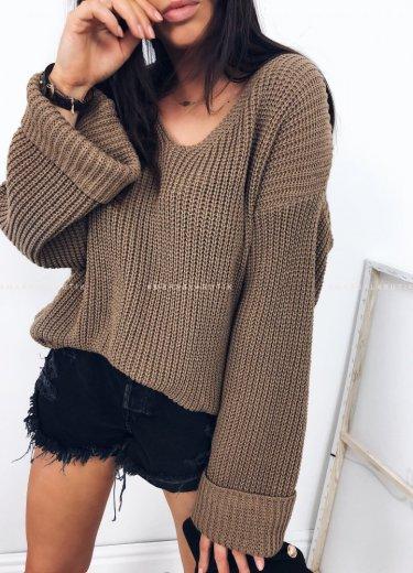 Sweterek SECOND w kolorze brązowym