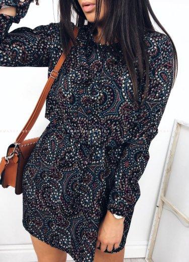 Sukienka czarna z printem - WENDY