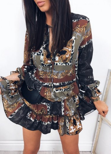 Sukienka FUTURE w kolorze czarnym z printem