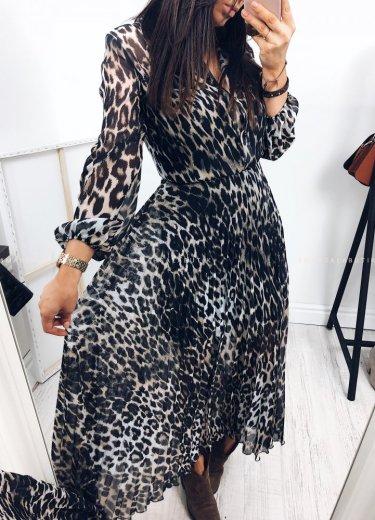 Sukienka TAMARA MAXI w panterkę