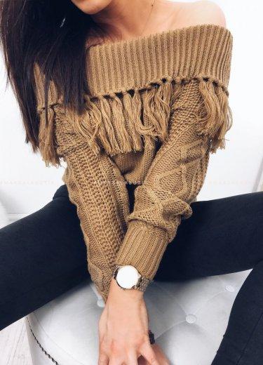 Sweterek krótki z frędzlami camel - FRANTIC