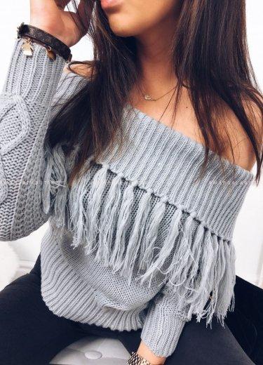 Sweterek krótki z frędzlami szary - FRANTIC