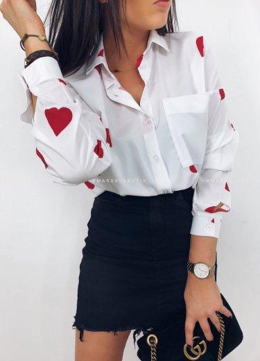 Koszula LOVELY w czerwone serca