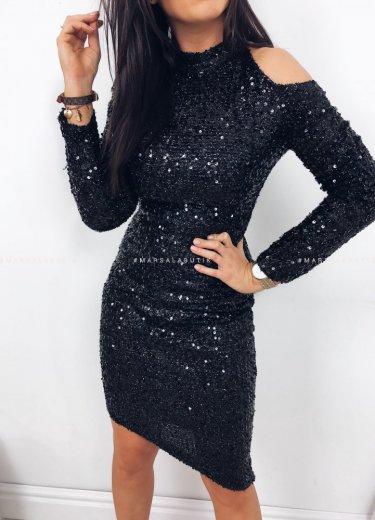 Sukienka STAR cekinowa z wiązaniem czarna