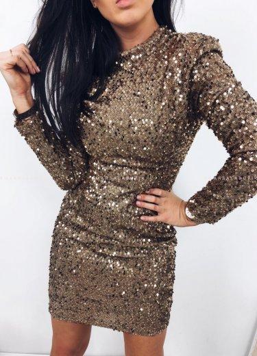 Sukienka DIAMANTE cekinowa złota