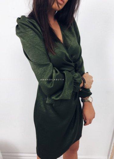 Sukienka CRYSTAL kopertowa khaki