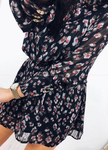 Sukienka GEISHA czarna w kwiaty