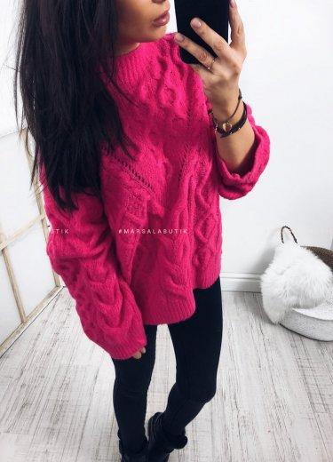 Sweter FLUEY neon pink ze splotem