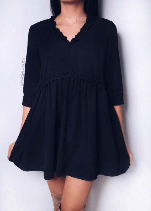 Sukienka z falbankami MOLLY - czarna