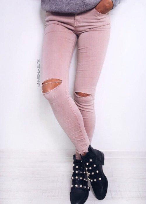 Spodnie JEGGINSY - pudrowe
