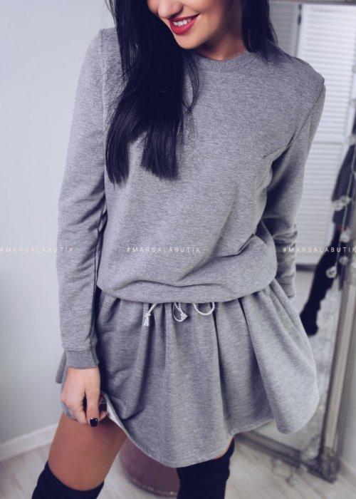 Sukienka dresowa LEYLA - szary melanż