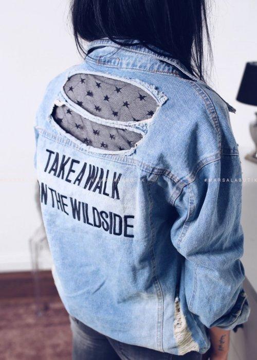Kurtka ROCK jeansowa z tiulem na plecach