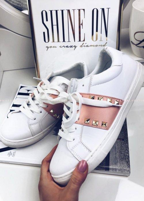 Białe trampki DILO z różowym paskiem oraz dżetami