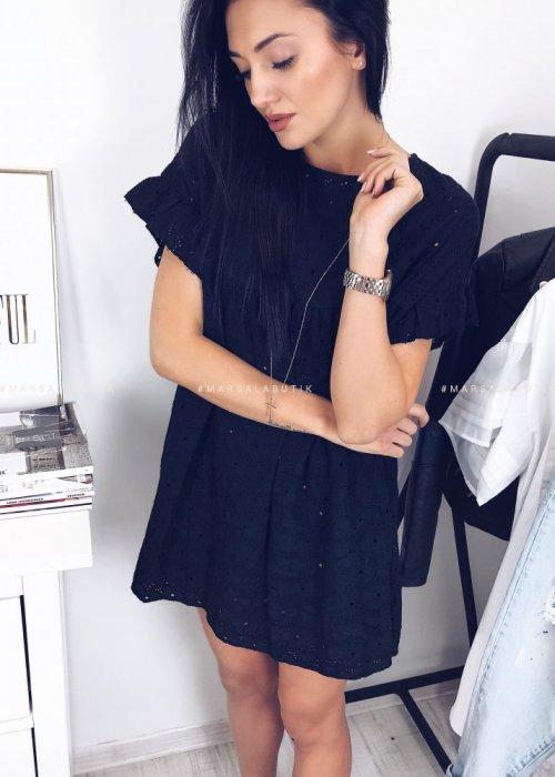 Sukienka ażurowa NAOMI w kolorze czarnym