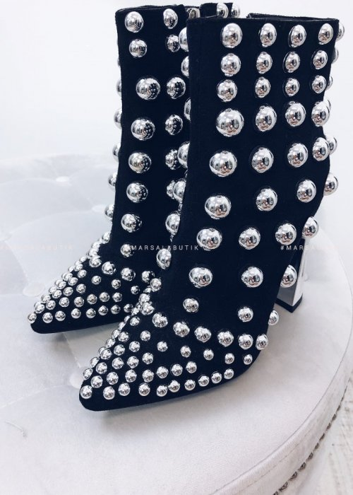 STUDDED ANKLE SHOES– BLACK SUEDE