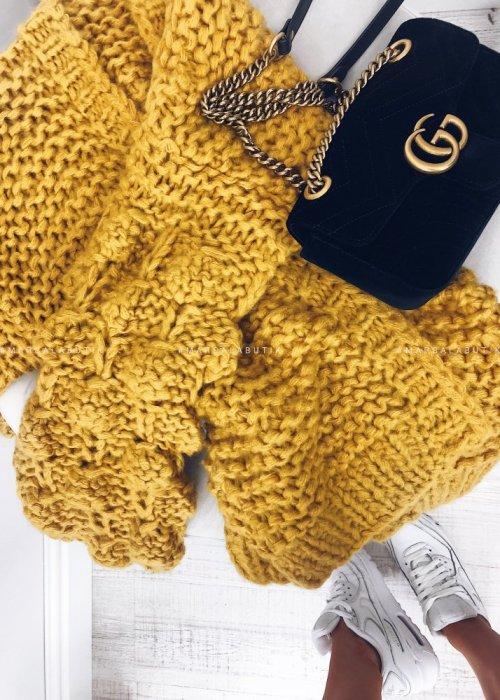 Sweter BUBBLE bąbelki musztardowy