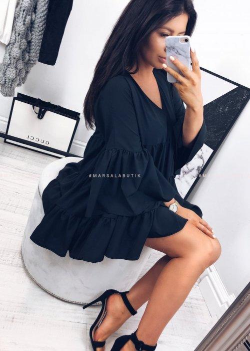 Sukienka COCO z przeszyciami - czarna
