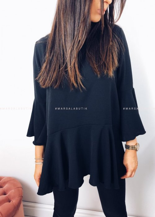 Bluzka PEONY z baskinką czarna