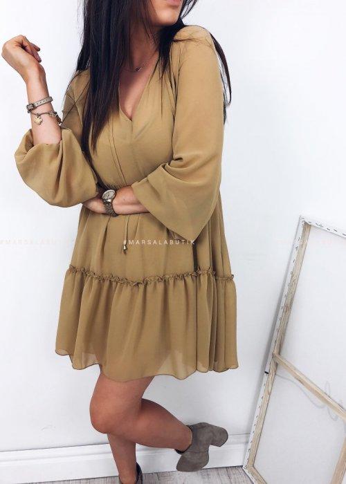 Sukienka LORETTA w kolorze camelowym
