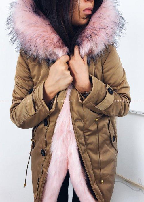Kurtka SHINE z różowym futerkiem