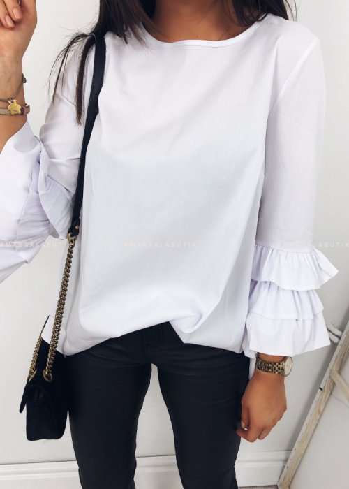 WHITE BLOUSE WITH DECORATIVE SLEEVE – KIM