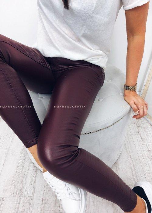 Spodnie COSY woskowane ocieplane bordo