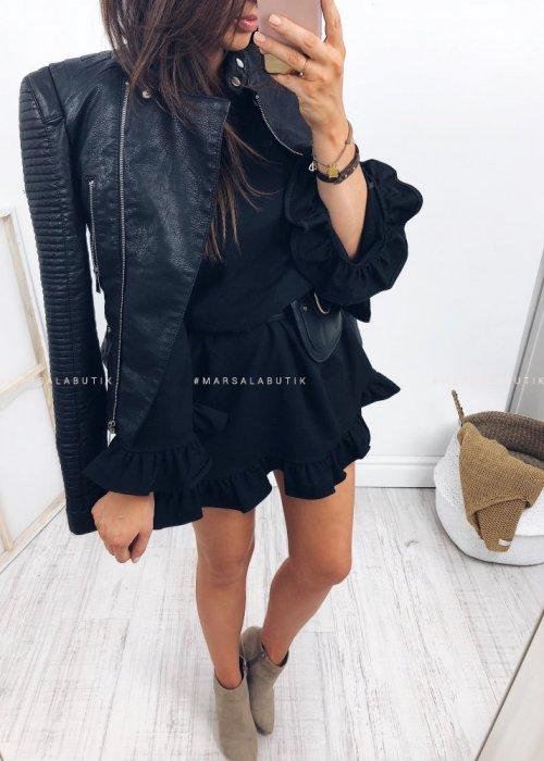 Dresowa sukienka z falbanka SOUL czarna
