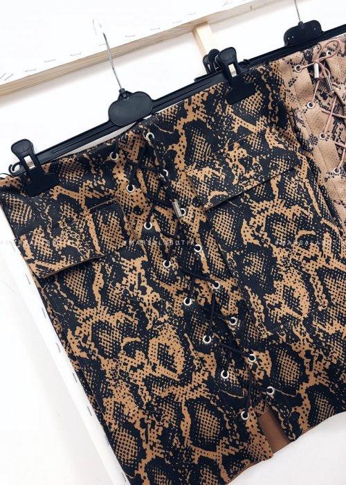 MISS SNAKE PRINT skirt – camel