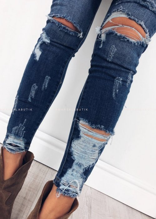 Jeansy NEW YORK navy jeans z dziurami