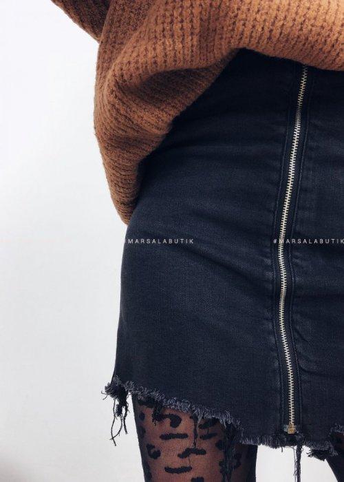 Spódniczka jeansowa DIRTY ZIP mini z suwakiem