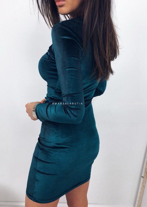 KYLIE dress velour bottle green
