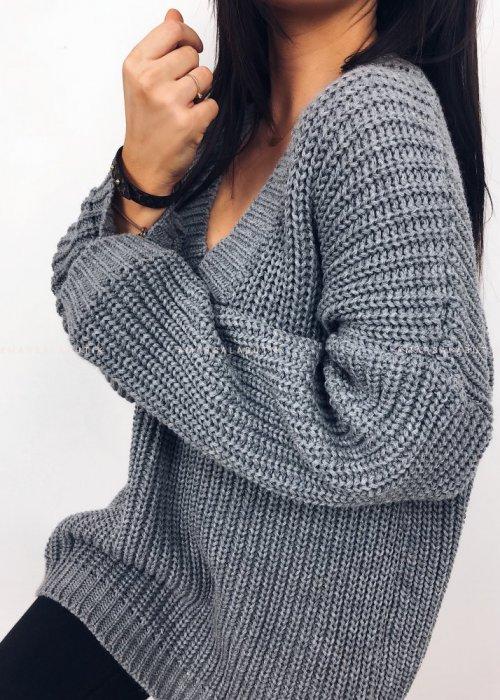 Sweter V szary - COVER