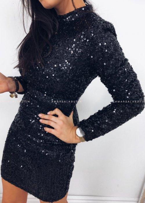 Sukienka DIAMANTE cekinowa czarna