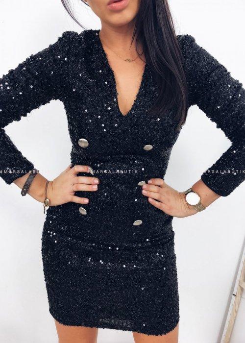 Sukienka SUIT żakietowa cekiny czarna